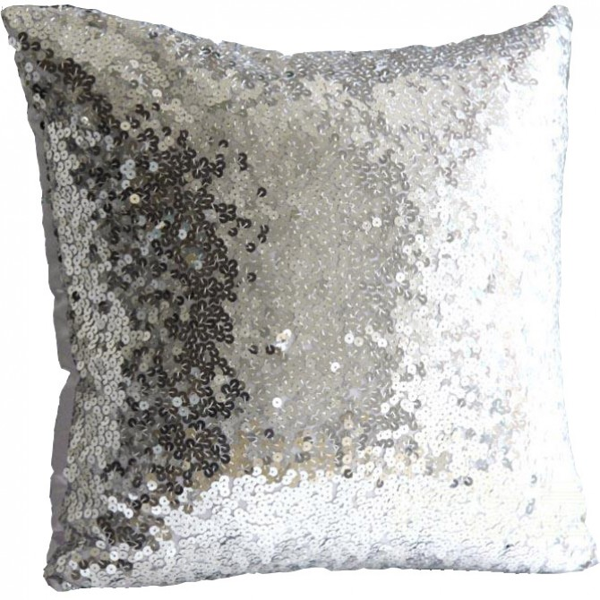Silver Sequin Cushion Cover