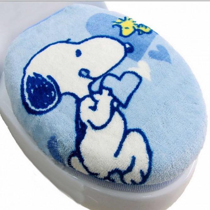 Peanuts Snoopy Blue Toilet Seat Lid Cover 3pcs set