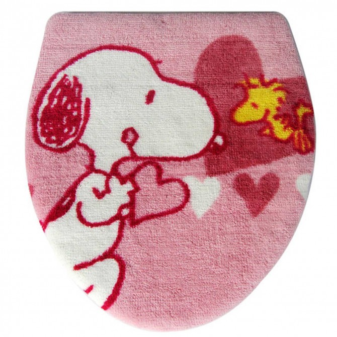Peanuts Snoopy Pink Toilet Seat Lid Cover