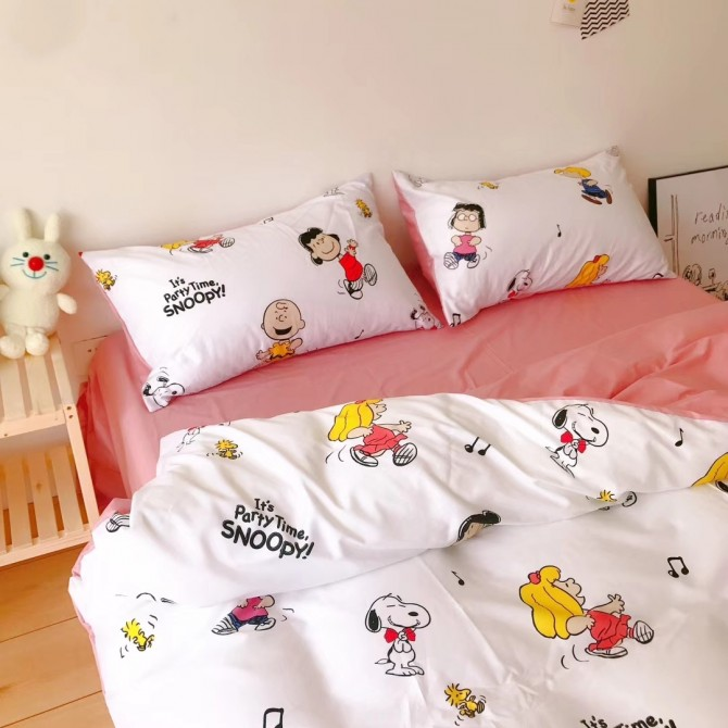Snoopy Duvet Cover Set-Pink