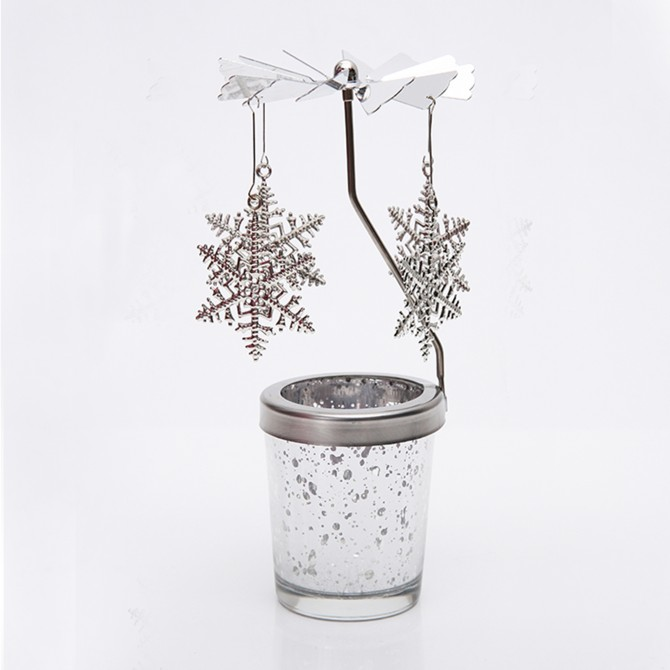 Snowflake Carousel Merry Go Round Candle Holder
