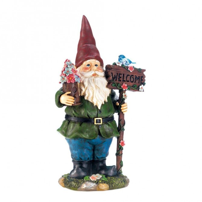 Garden Gnome Welcome Statue with Bluebird Solar Light