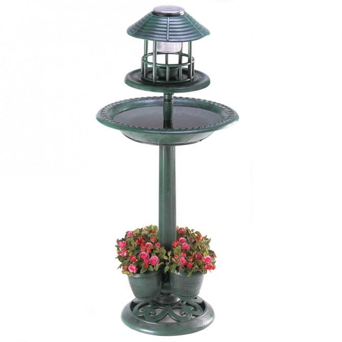 Solar Bird Bath Garden Centerpiece