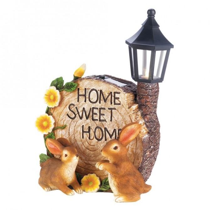 Sweet Home Bunnies Garden Solar Lantern