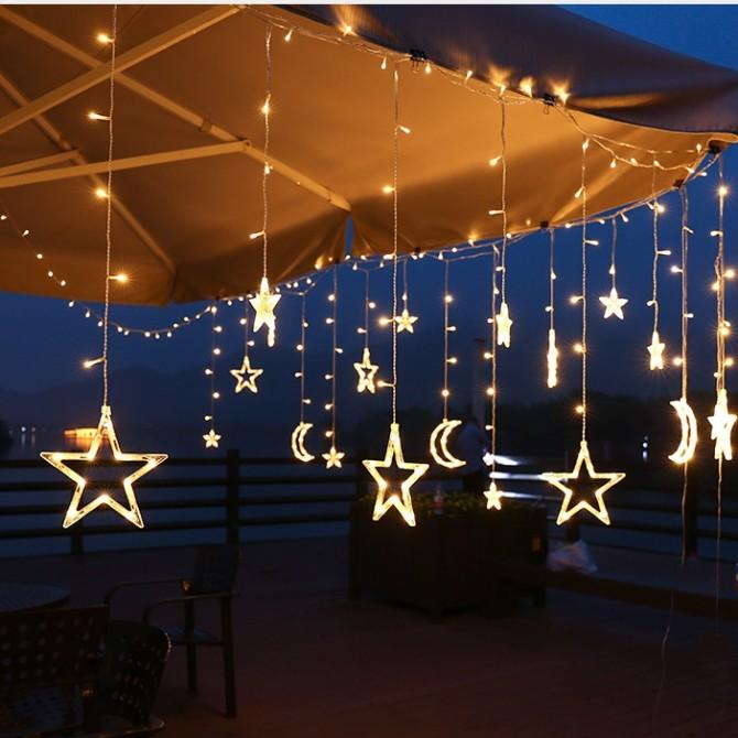 Moon Stars Fairy String Lights Solar Power Garden Outdoor Decor