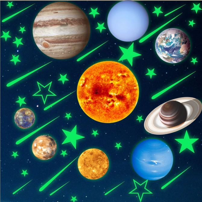 Universe Space Sticker. Glow in Dark Solar System Decal Set