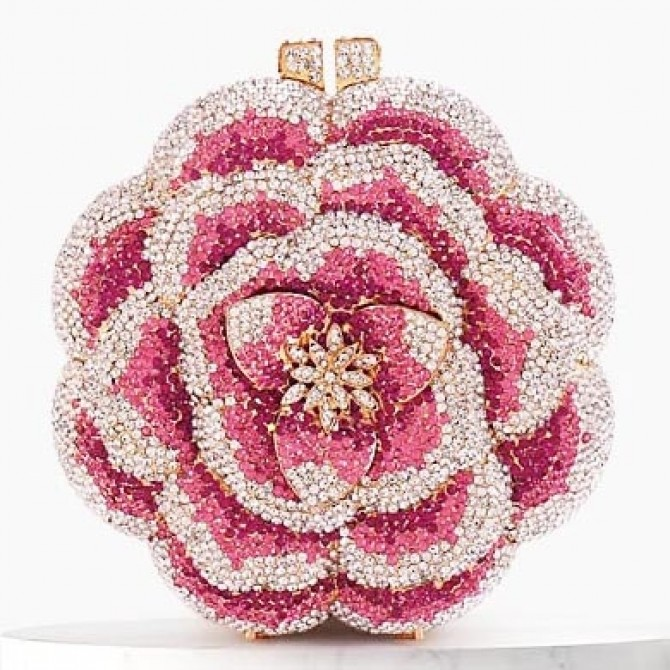Sparkle Flower Crystal Clutch Evening Wedding Party Bridal Diamond Minaudiere Handbag Purse