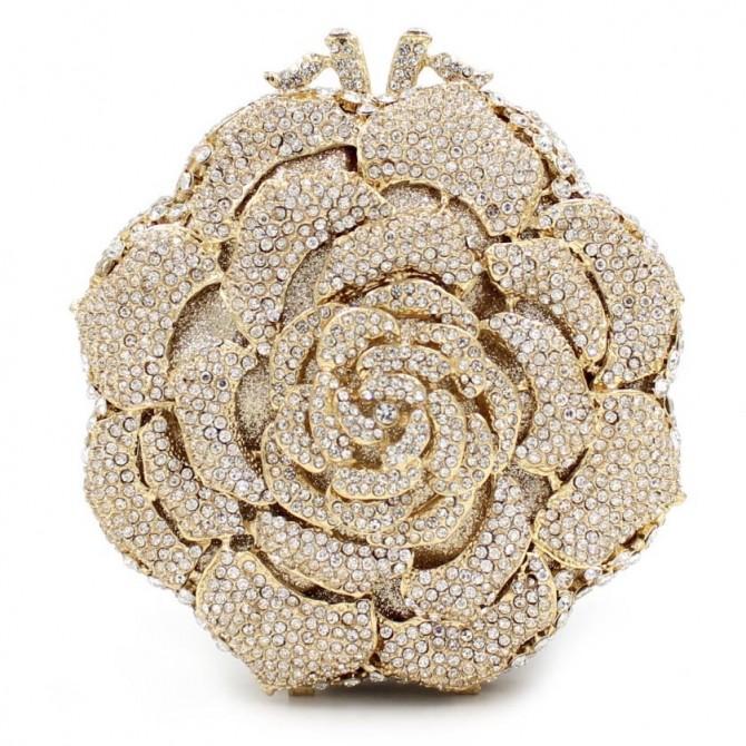Sparkle White Rose Crystal Gold Clutch Evening Wedding Party Bridal Diamond Minaudiere Handbag Purse
