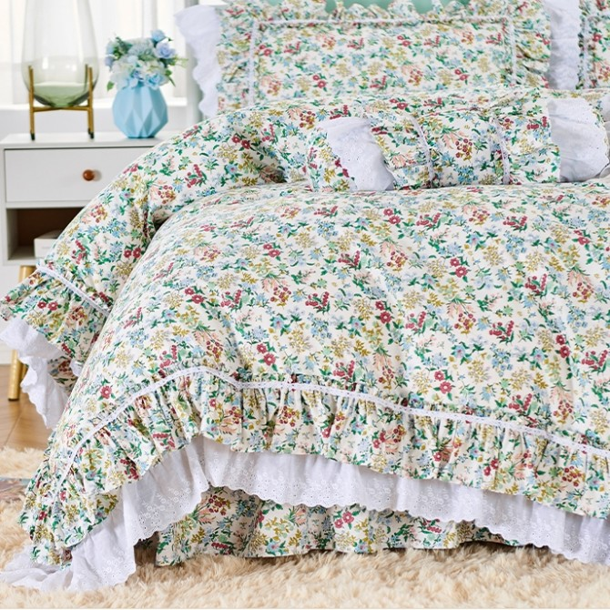 Elegant Garden Double Ruffle Lace Duvet Cover Set