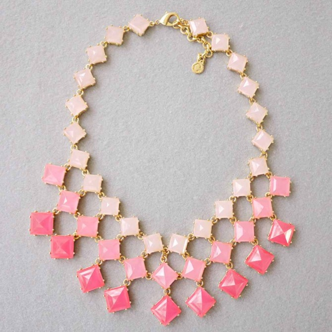 Peach Square Stone Necklace
