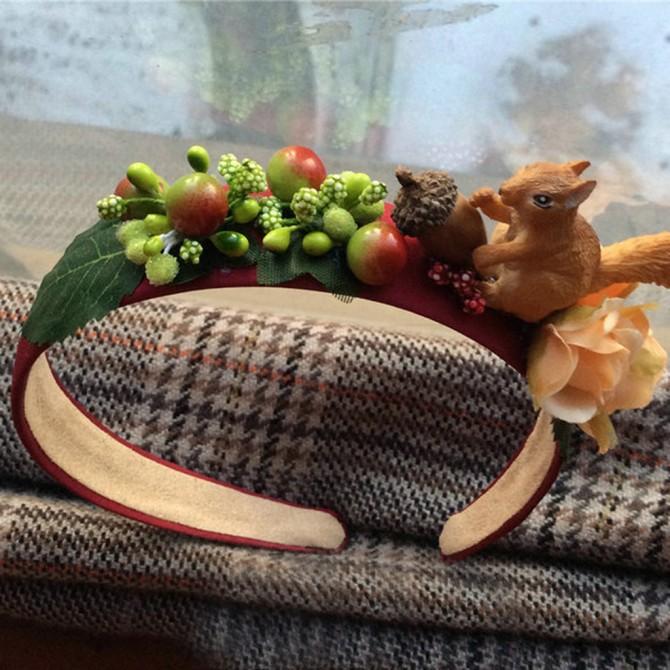 Squirrel Acorn Berry Headband