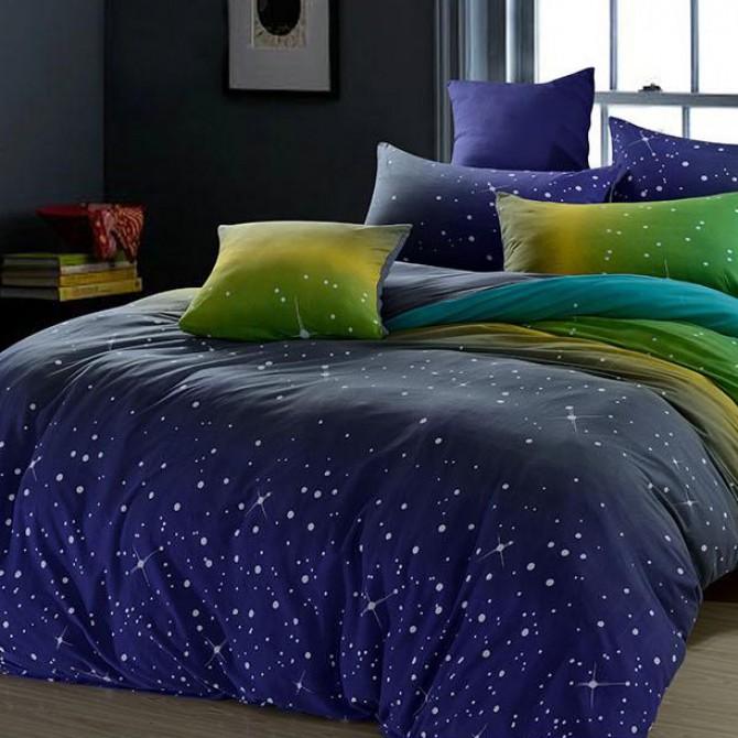 Blue Gradient Stars Duvet Cover Set