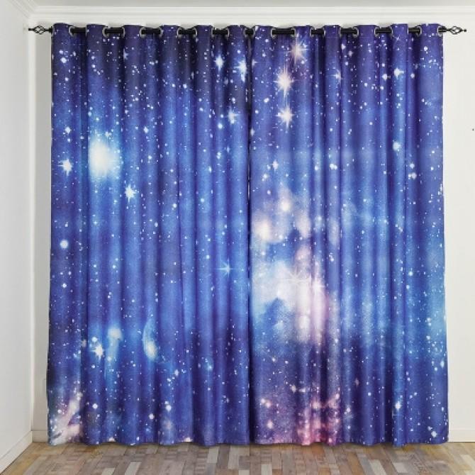 Space Stars Blue Curtain Set
