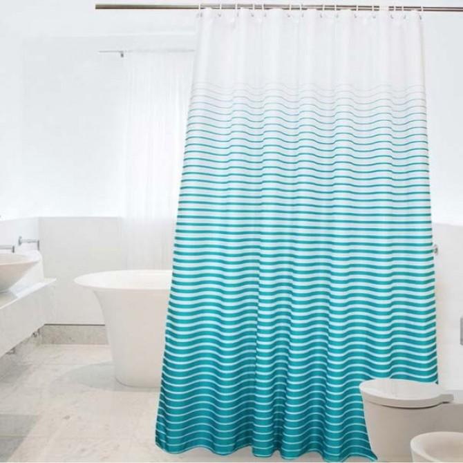 Blue Straight Stripe Shower Curtain
