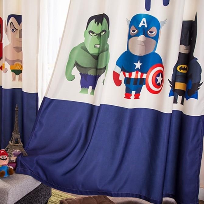 Superhero Superman Captain America Batman Curtain Set