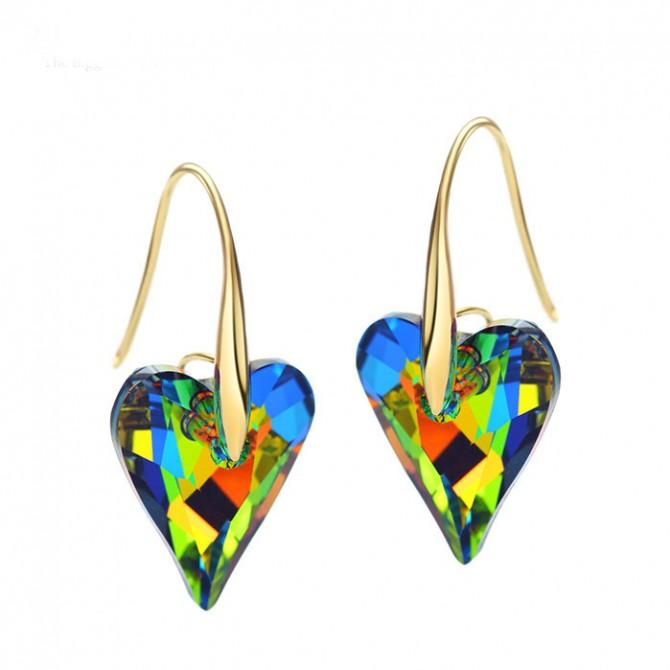 Rainbow IirIdesicent Heart Earrings