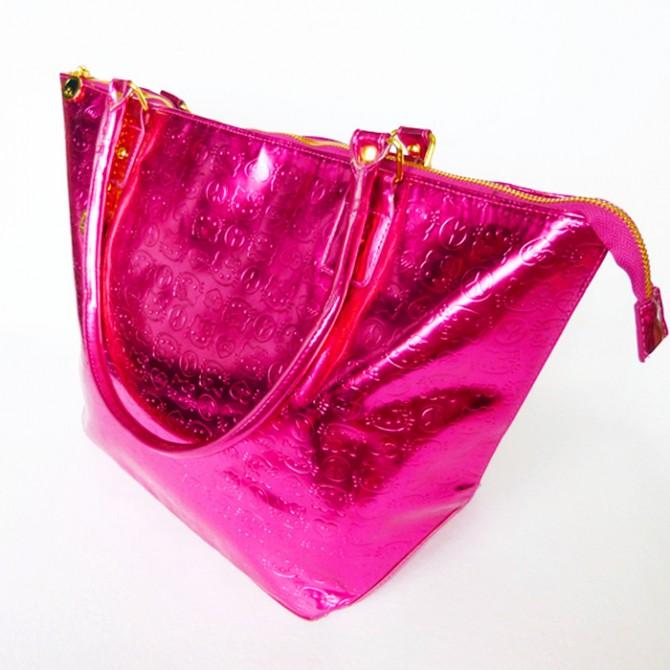 Hello Kitty Large Patent Embossed Fuschia Purse Bag
