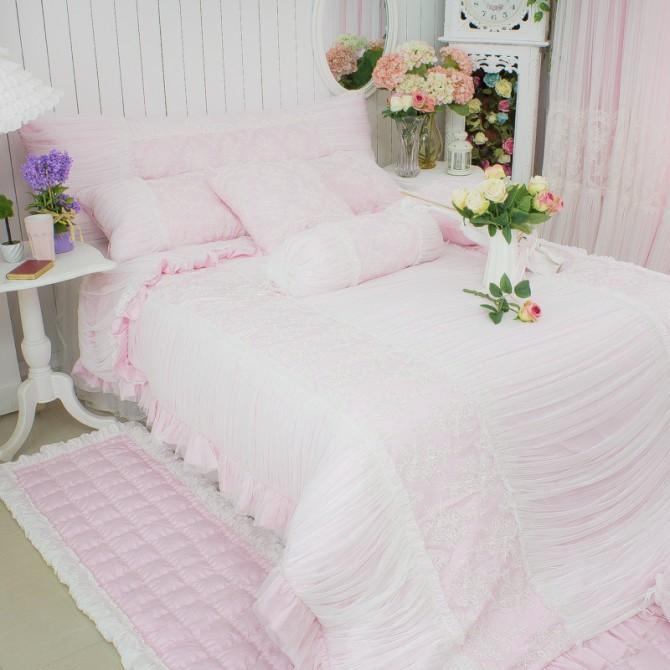 Pink Princess Lace Duvet Cover