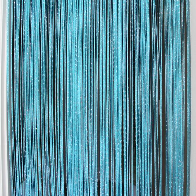 Aqua Blue Silver String Curtain