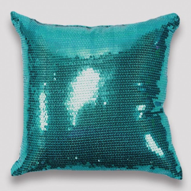 Teal Sequin Cushion Cover