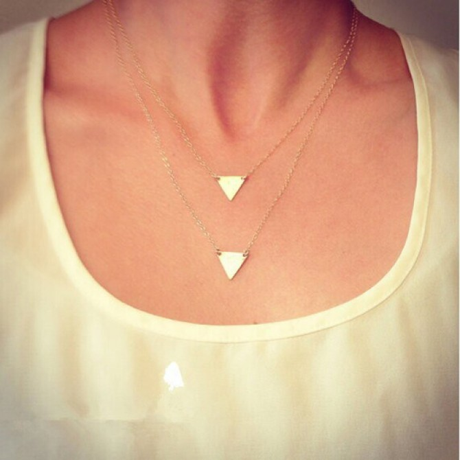 Lariat Layered Hanging Down Triangle Necklace