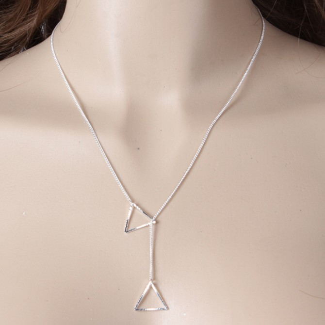 Lariat Hanging Triangle Necklace