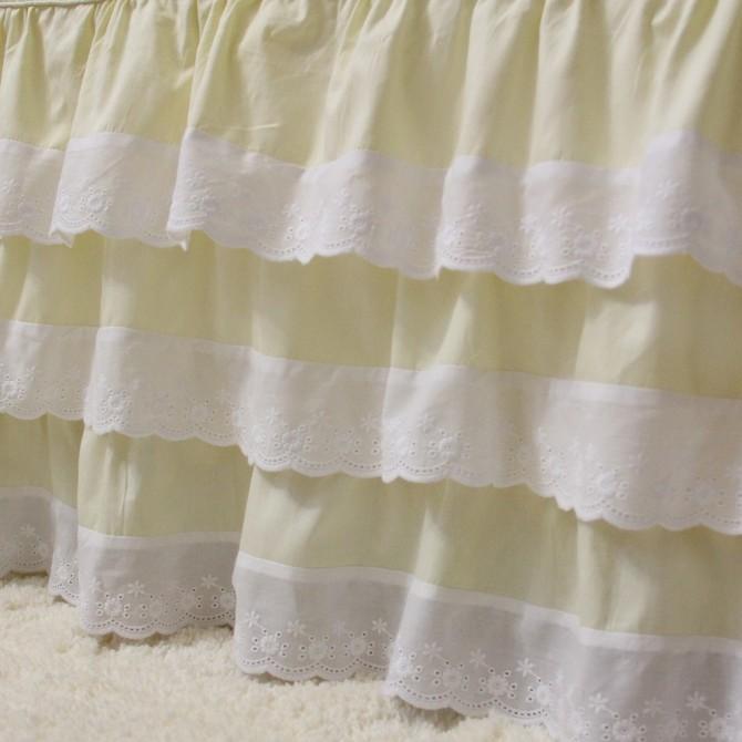 Eyelet Lace Cream 3 Ruffle Bed Skirt