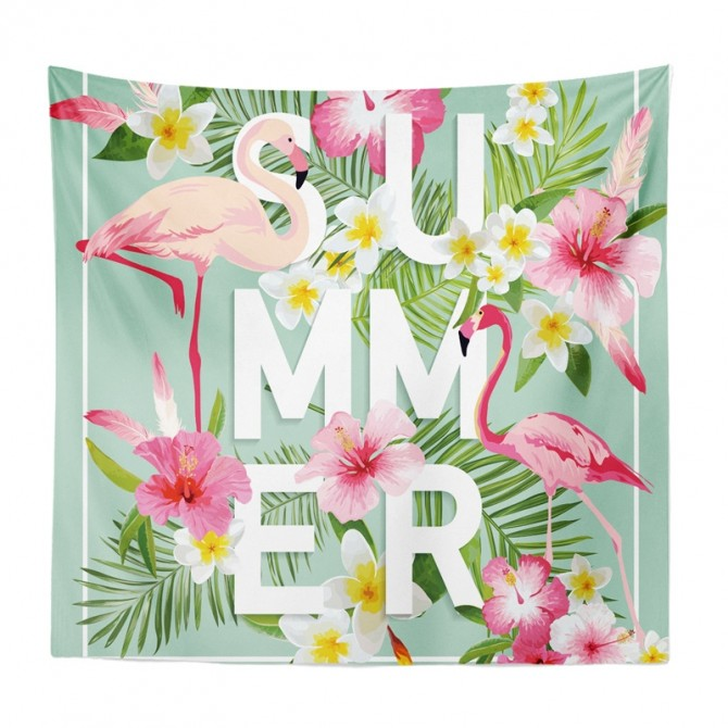 Pink Flamingo Summer Tapestry