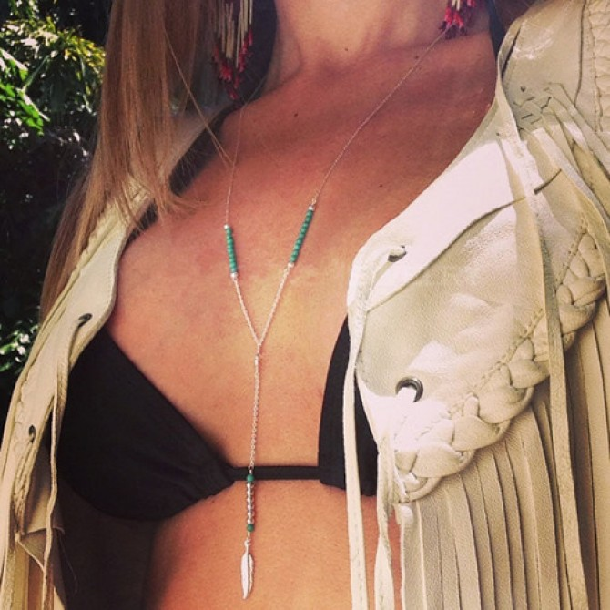Lariat Turquoise Hanging Feather Necklace