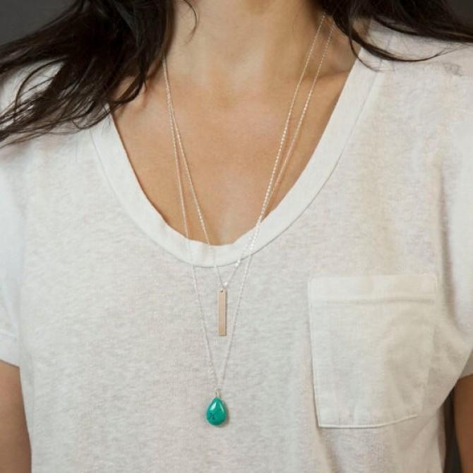 Lariat Hanging Layered Turquoise Necklace