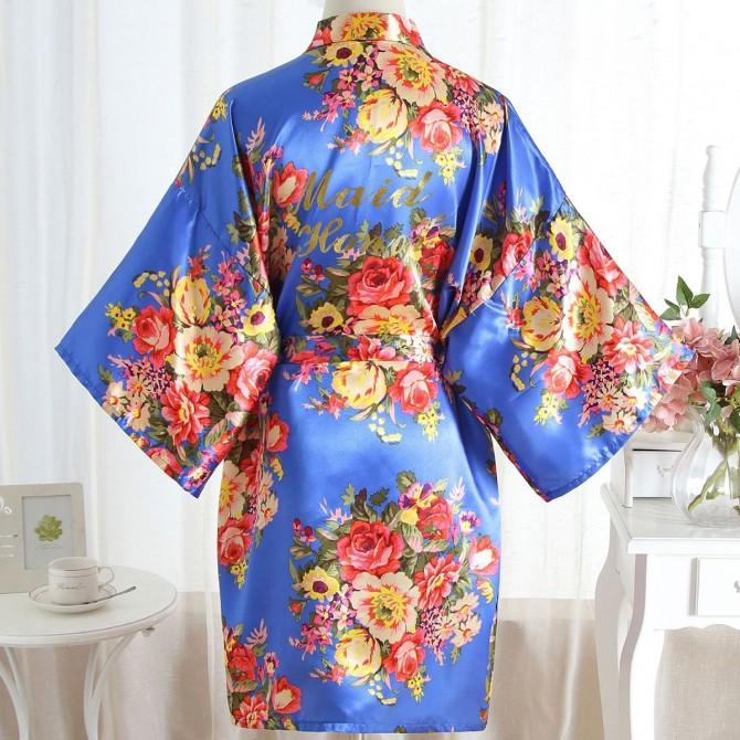 Maid of Honor Floral Kimono Satin Robe