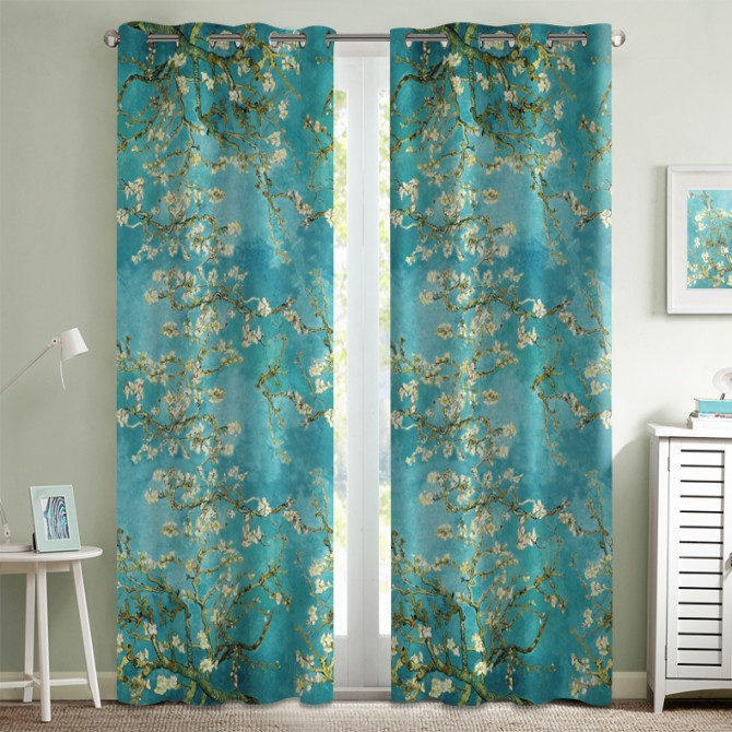 Van Gogh Full Almond Blossom Curtain Set