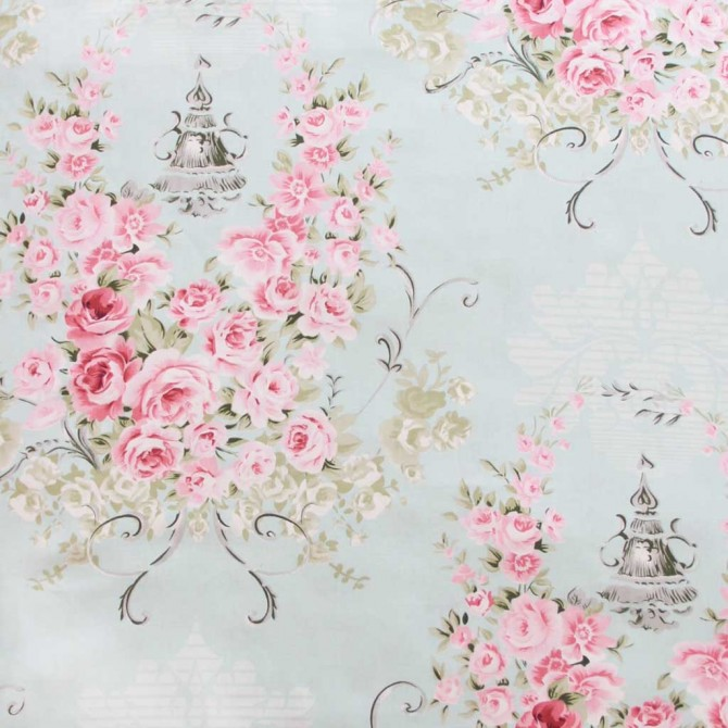 Victorian Blue Rose Fabric