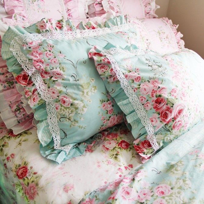 Victorian Blue Rose Duvet Cover Set