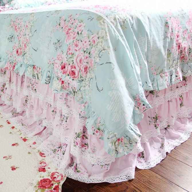 Pink Rose Cotton Lace Ruffle Bed Skirt