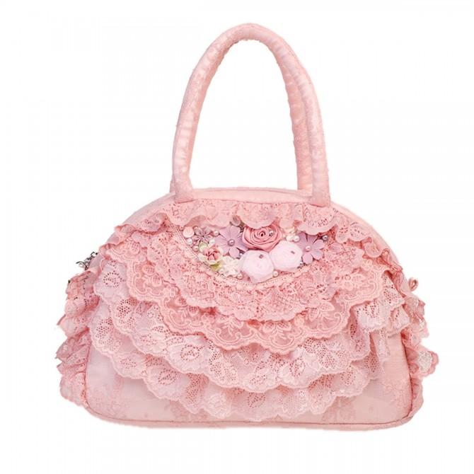 Pink Lace Ruffled Bag