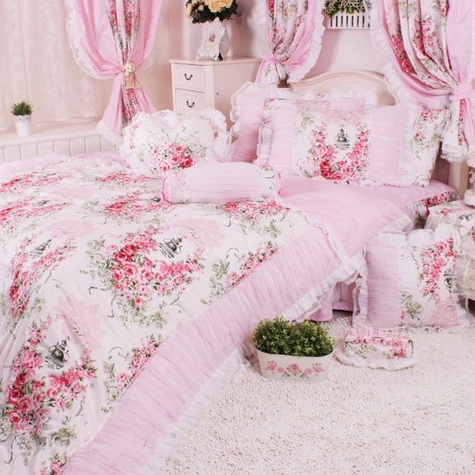 Victorian Pink Ruching Duvet Cover