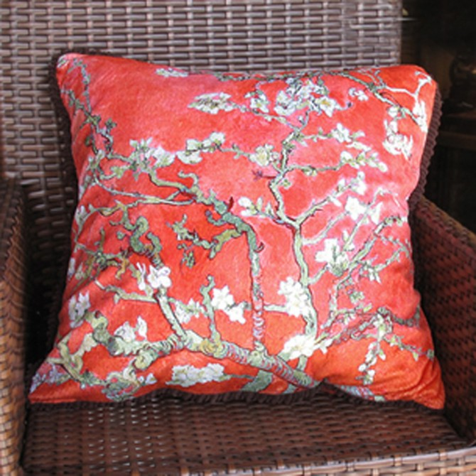 Almond Blossom Cushion Cover, Red