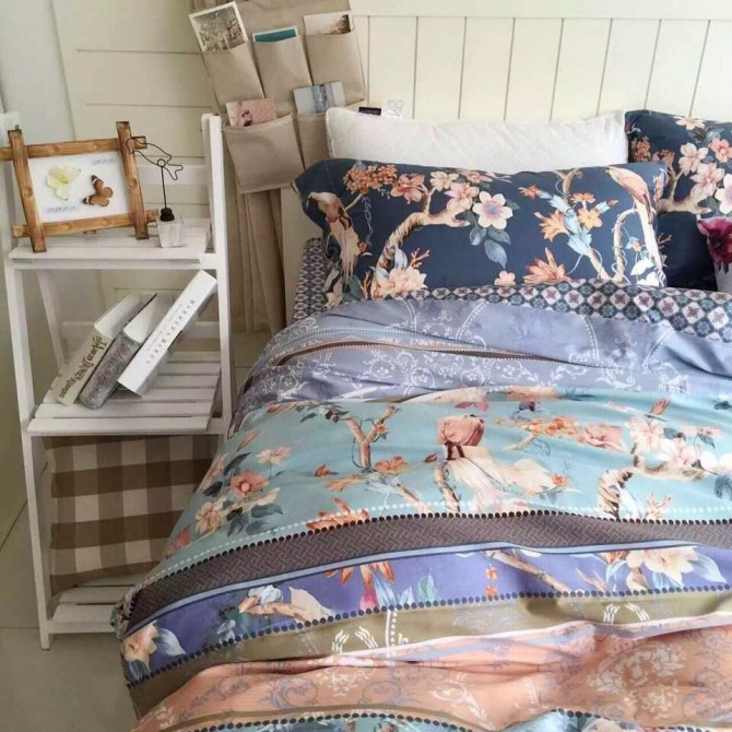 Vintage Birds Botanical Blue Egyptian Cotton Duvet Cover Set