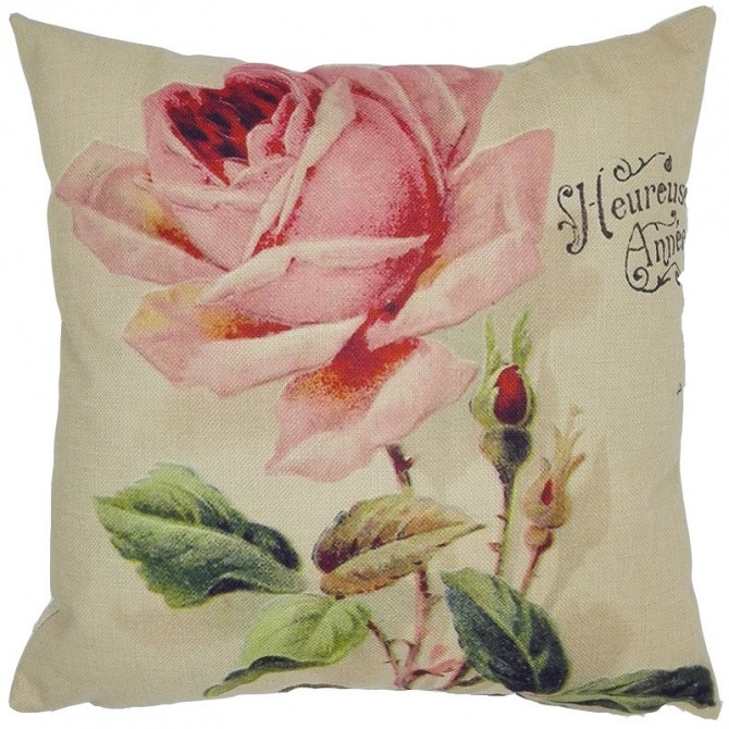Vintage Pink Rose Cushion Cover
