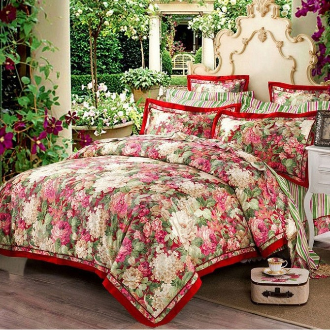 Jacquard Floral Queen Duvet Cover Set-Red