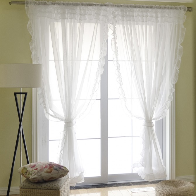 Voile Ruffle Sheer Curtains in Multiple Colors