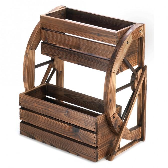 Wagon Wheel Double-Tier Planter
