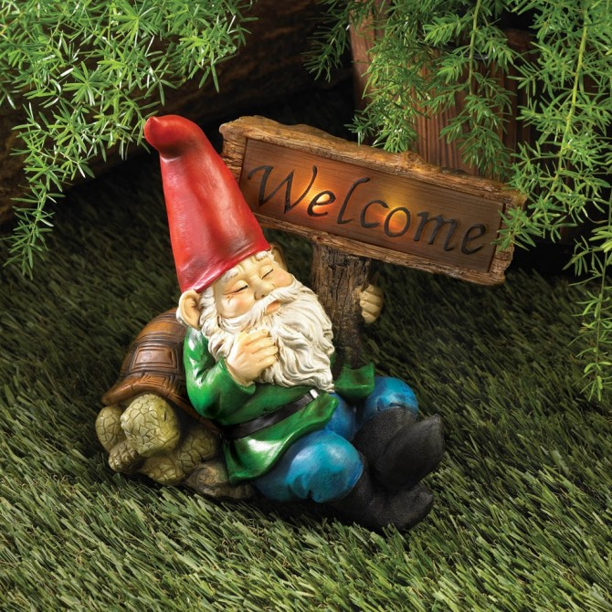 Sleepy Gnome with Solar Light Welcome Sign