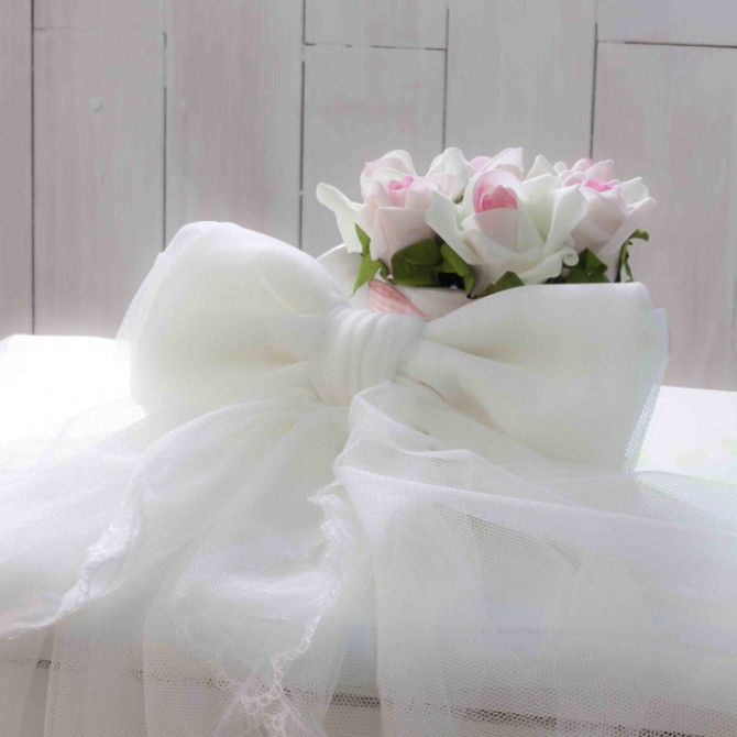 White Tulle Bow Pin Pairs