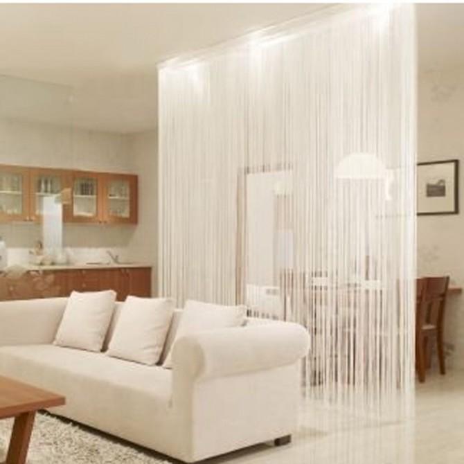 "White String Curtain Panel 149"" L"
