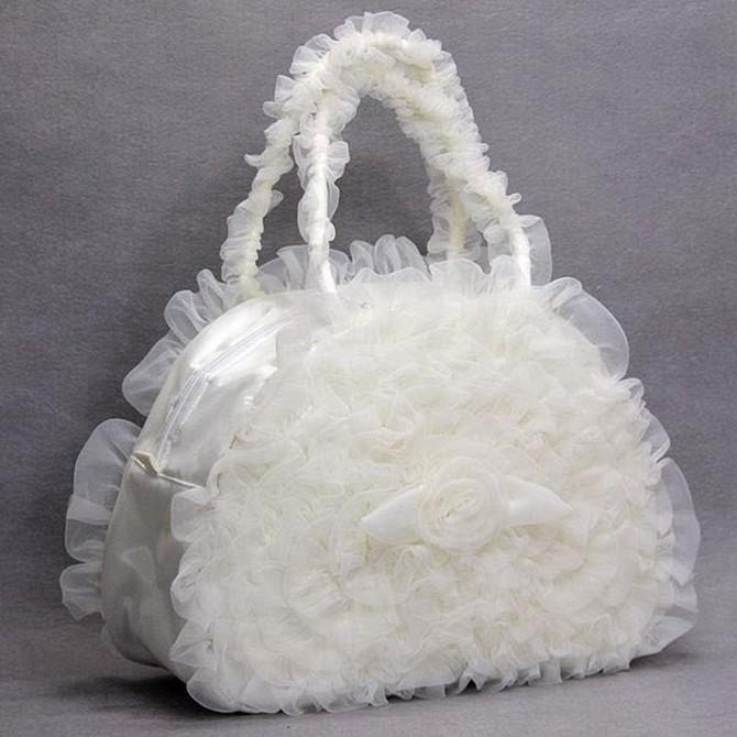 White Ruffled Bag