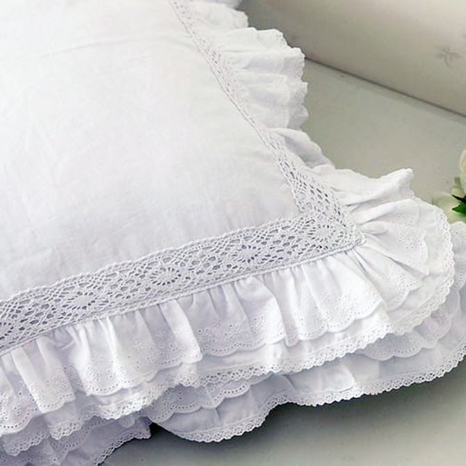 Lace Love Ruffle Cushion Cover, White