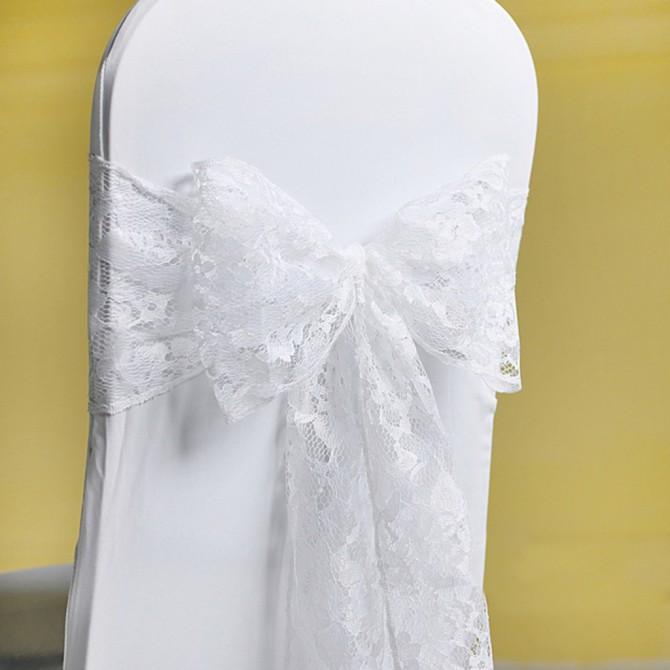 White Lace Chair Sash