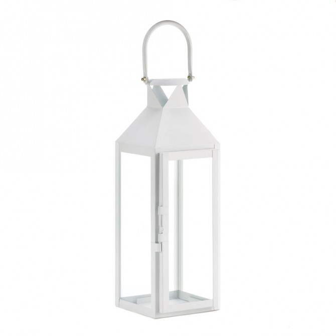 White Manhattan Candle Lantern